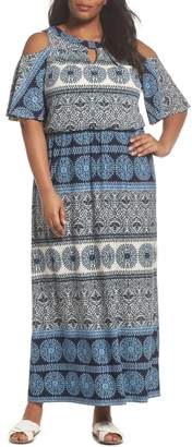 London Times Print Cold Shoulder Blouson Maxi Dress