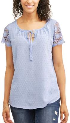 Concepts Women's Lace Sleeve Swiss Dot Top