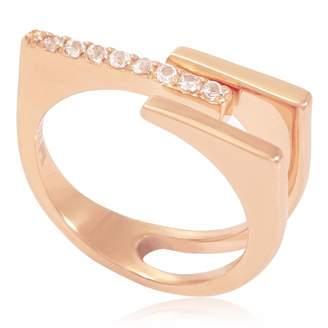 Neola - Neringa Rose Gold Stacking Ring With White Topaz