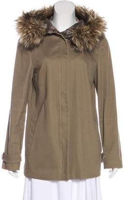 L'Agence Faux-Fur Trimmed Hooded Coat
