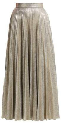 Emilia Wickstead Sunshine Metallic Pleated Skirt - Womens - Silver