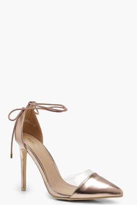 boohoo Pointed Toe Clear Wrap Strap Heels