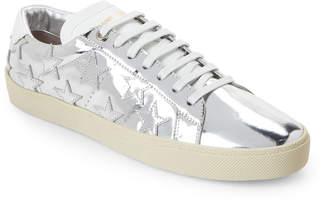 Saint Laurent Silver Court Classic Star-Applique Low-Top Sneakers
