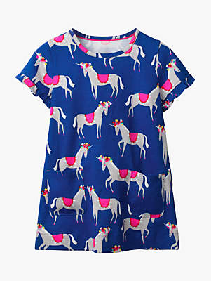 Boden Mini Girls' Colourful Unicorn Print Tunic Top, Blue