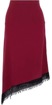 Roland Mouret Tarring Lattice-Trimmed Wool-Crepe Midi Skirt