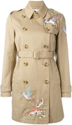 Red Valentino bird embroidery trench coat $1,150 thestylecure.com