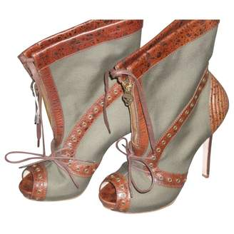 Alexander McQueen Khaki Leather Ankle boots