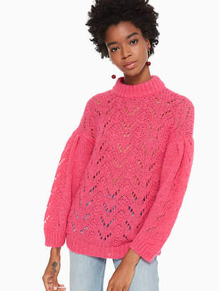 Kate Spade Pointelle Stitch Sweater, Roasted Peanut - Size XXL