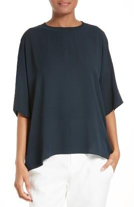 Women's Vince Rib Collar Silk Tee $255 thestylecure.com