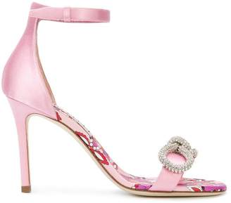 Emilio Pucci gemstone bow front sandals