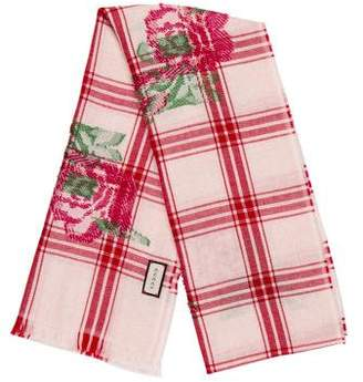 Gucci Wool Floral Check Scarf