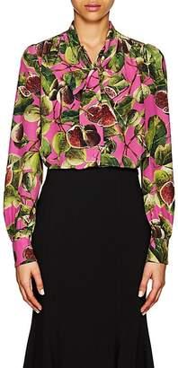 Dolce & Gabbana Women's Fig-Print Silk Tieneck Blouse