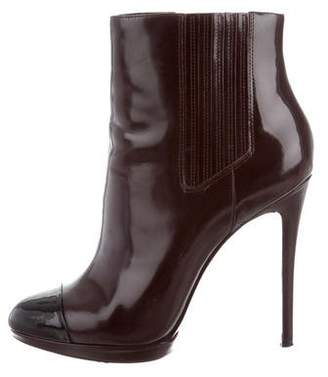 Brian Atwood Patent Cap-Toe Ankle Boots