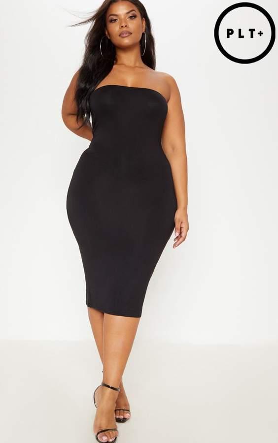 Plus Black Jersey Bandeau Midi Dress