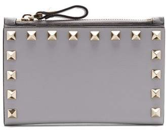 Valentino Rockstud Leather Card And Coin Purse - Womens - Light Grey