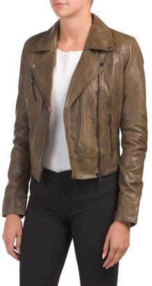 Leather Cropped Biker Jacket