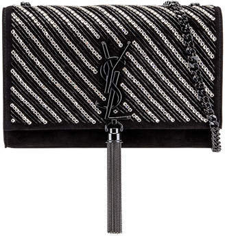 Saint Laurent Small Kate Chain Tassel Bag in Black & Crystal | FWRD