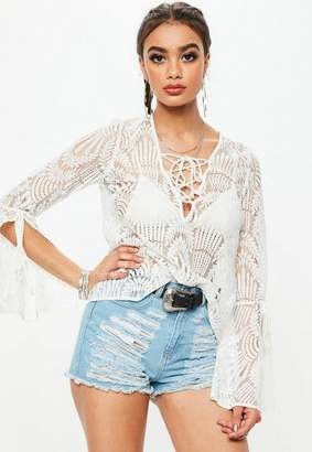 Missguided Ivory Boho Lace Blouse