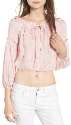 Women's Lush Crop Peasant Blouse $45 thestylecure.com