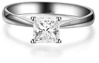 FineTresor 0.50 Carat Princess cut Diamond Solitaire Ring On 10K White Gold