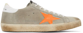 Golden Goose Grey and Orange Superstar Sneakers