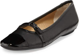 Neiman Marcus Sherry Leather Buckle Flat, Black $129 thestylecure.com