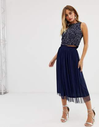 Lace & Beads shirred waistband tulle midi skirt two-piece in navy