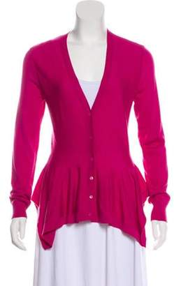 Alexander McQueen Wool Button-Up Cardigan Magenta Wool Button-Up Cardigan