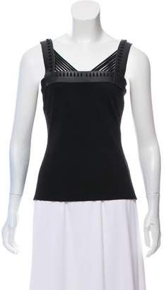 David Koma Sleeveless Leather-Trimmed Top