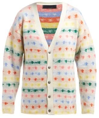 The Elder Statesman Fireside Intarsia Knit Cashmere Cardigan - Womens - White Multi