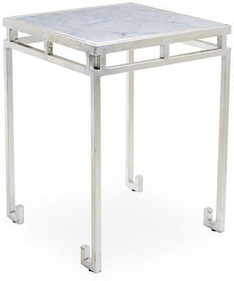 ... One Kings Lane Rossmoor Marble Side Table   Silver