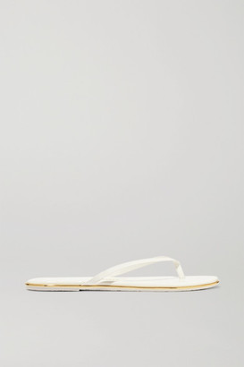 TKEES Lily Patent-leather Flip Flops - White