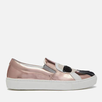 Karl Lagerfeld Women's Kupsole Leather Ikonic Slip-On Trainers - Rose Gold Mirror