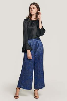 Shashi Beulah London Blue Tile Satin Cropped Trousers