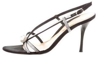 Sergio Rossi Satin Round-Toe Sandals