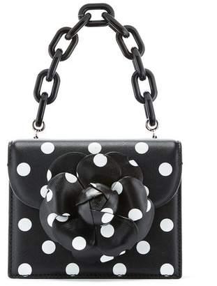 Oscar de la Renta Polka Dot Leather Mini Tro Bag