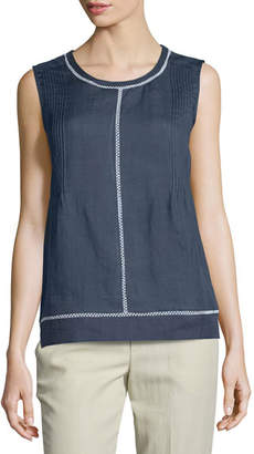 Vince Lace-Insert Sleeveless Top