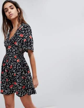 Missguided Floral Tie Back Skater Dress