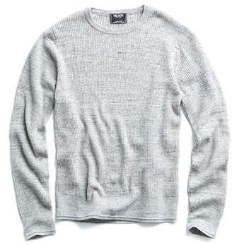 Todd Snyder Merino Waffle Crewneck Sweater in Grey Marl