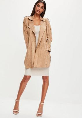 Brown Faux Suede Belted Trench Coat $95 thestylecure.com