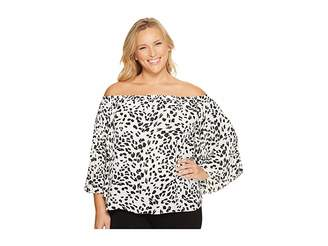 Vince Camuto Specialty Size Plus Size Pleated Sleeve Animal Whispers Off Shoulder Blouse Women's Blouse