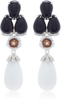 Mother of Pearl Dana Rebecca 14K White Gold Black Agate Mother-of-Pearl and Dolomite Drop Earrings