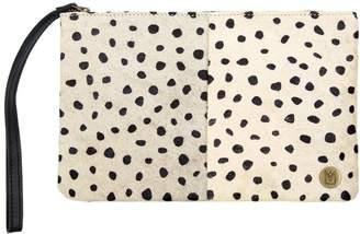 Mahi Leather Classic Clutch Bag In Spotty Print Pony Fur