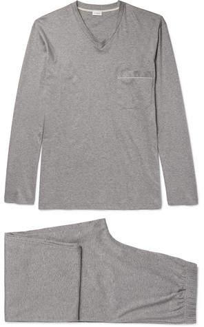 Zimmerli Mélange Mercerised Cotton-Jersey Pyjama Set