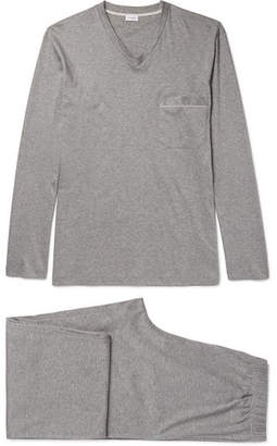 Zimmerli Melange Mercerised Cotton-Jersey Pyjama Set - Gray