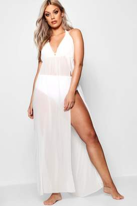 boohoo Plus Chiffon Plunge Split Maxi Beach Dress