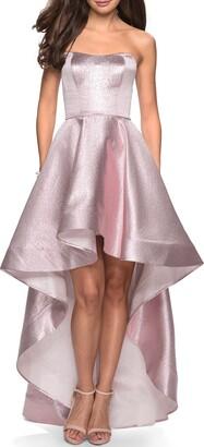 La Femme Strapless High/Low Evening Dress