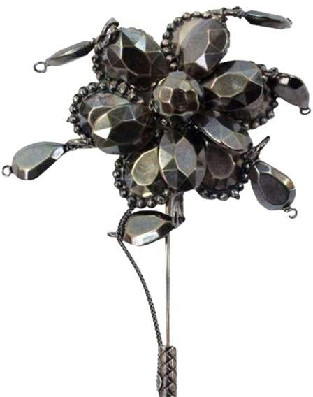 Bottega Veneta Bottega Veneta Oxidized Sterling Silver Flower Stick Pin Brooch
