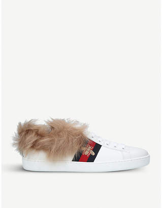 Gucci Ladies New Ace shearling-lined leather trainers