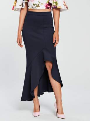 True Violet Hi-Low Scuba Midi Skirt - Navy